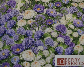 Lavender Flowers from the Plumage Collection by Michael Davis for Wilmington Prints, Quilt or Craft Fabric.  Fabric by the Yard.