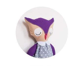 Sleeping owl toy. Owl softie. Woodland nursery. Stuffed owl toy. 30 cm tall toy.
