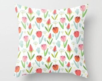 Tulips Pillow Kids Pillow Cover girls room pillow floral pillow girls bedroom tulip print floral print pillow tulip illustration pink flower