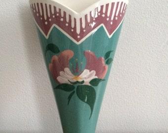 Vintage Ceramic Floral Wall Pocket Signed Hart