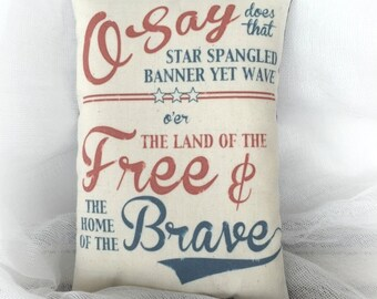 Star Spangled Banner pillow | Patriotic decor | Primitive Americana decoration | Red white blue decor | USA accent