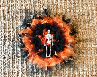 Gothic Wreath, 12 Inches // Halloween Decor, Wall Art // Orange, Black // Skeleton // Zombiesque Creations