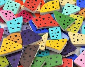 100 Broken China Hand Painted Tiles -Colorful - Polka Dots -
