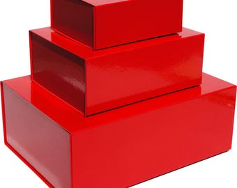 Red Magnetic Gift Boxes available in 3 box sizes