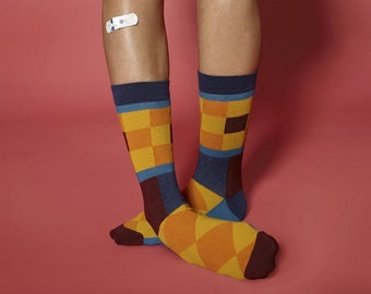 High Quality Gothenburg mosaic socks for  women. Fun colorful socks inspired by Sweden.