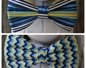 Bow Tie or Flower Collar Attachment & Accessory for Dogs and Cats  / Blue and Yellow Stripes or Chevron