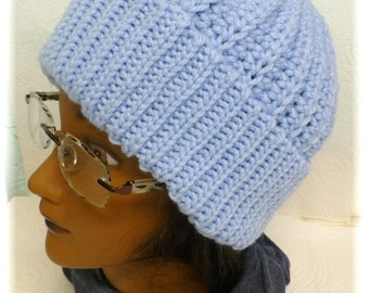 Ribbed Unisex Adult Teen Hat Light Blue