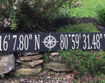 Coordinates Sign | Longitude and Latitude Sign | Farmhouse Sign | Coordinate Sign | GPS Sign | Rustic Sign | Farmhouse Decor