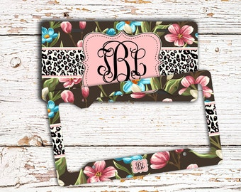Pretty car accessories, Customized auto license plate or frame, Floral cheetah, Girly Car tag, Monogram bike license Black pink blue  (1435)