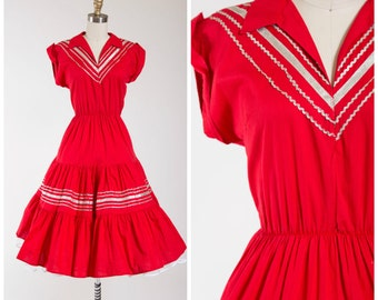 Vintage 1950s Dress • Buckaroo Babe • Red Cotton 50s Patio Dress with Full Skirt Size Small