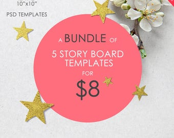 A Bundle of 5 Story Board Templates (5 spreads/10 pages),  Photo Album Templates, 10x10,12x12