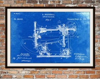 Blueprint Art of Patent Sewing Machine 1885Technical Drawings Engineering Drawings Patent Blue Print Art Item 0022