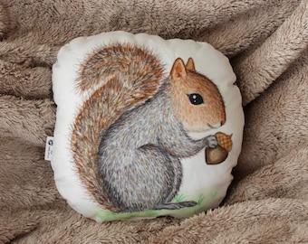 Squirrel pillow. Woodland nursery decor. Animal pillow. Kids room decor. Baby shower gift. Whimsical nursery decor. Squirrel soft toy decor.
