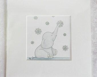 Original Artwork - Snowflake Ellie Elephant