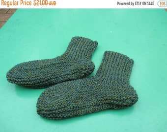 ON SALE Beautiful Baby Green Bed Socks Hand Knitted for a Baby Boy