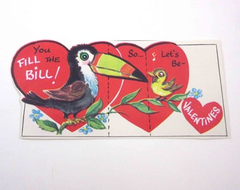 Vintage Unused Children's Novelty Valentine Greeting Card with Cute Toucan and Yellow Bird