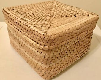 Palm Leaf Natural Handwoven Box