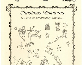 M306 Vintage Christmas Miniatures Embroidery heat transfer pattern for minis
