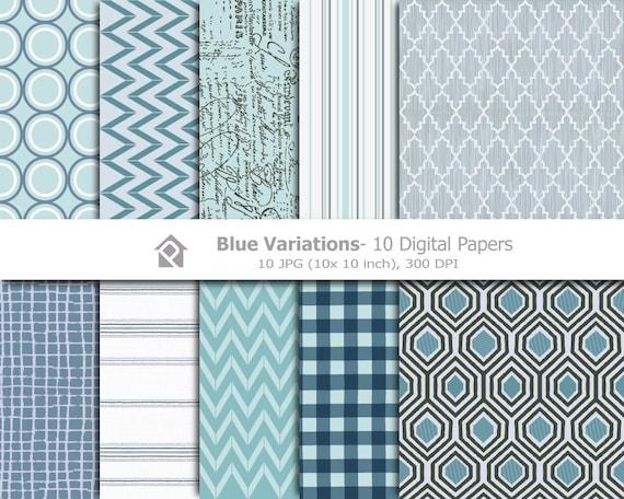 Clip art Blue, Clipart Digital Papers- Printable digital clip art - 10 JPG files