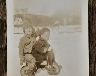 Original Vintage Photograph | Brother Sister Snow Day
