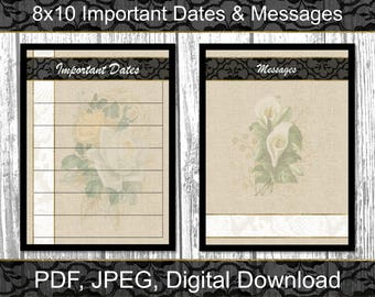 Important Dates and Messages | Dry Erase | 8x10 | Digital Download