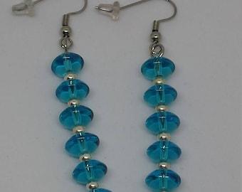 Blue Rondelle Beaded Earrings
