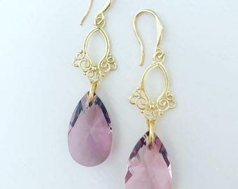 Swarovski Antique Pink Drop Chandlier Earring