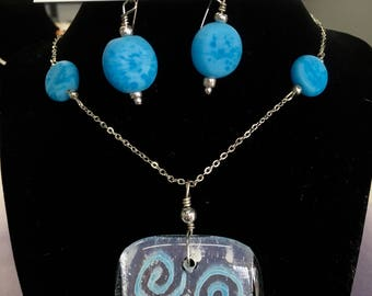 Blue and silver swirl set