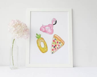 We'll All Float On Print- Flamingo Float- Pineapple Float- Pizza Float- Summer Print- Pool Party Print
