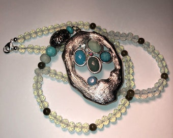 Silver Turquoise Abstract Crystal Bead Necklace