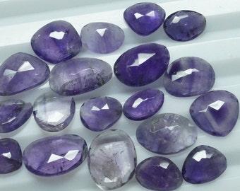 LOT 19 Pieces 100% Natural African Amethyst Gemstones Irregular Rose Cut 10-20mm