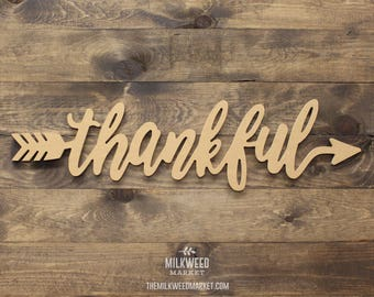 Thankful Arrow Cutout Sign