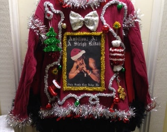 Custom Photo Transfer Your Photo to Light up  Tacky Ugly Christmas Sweater  PRIORITY MAIL Shipping
