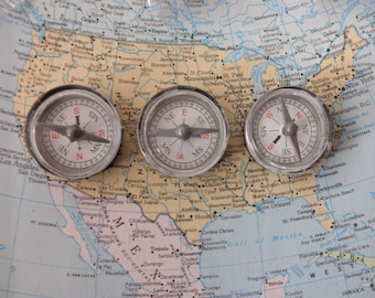 10 new plastic compasses - black, assemblage, collage, compass
