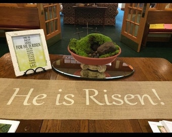 Burlap Table Runner with He is Risen - Easter Holiday decorating Home decor