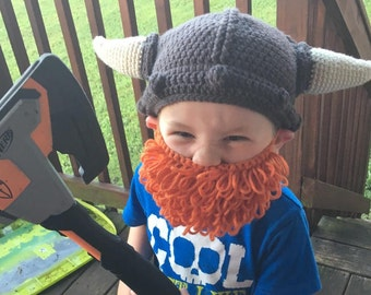 Boy's Crochet Viking Hat & Beard/ any size or color