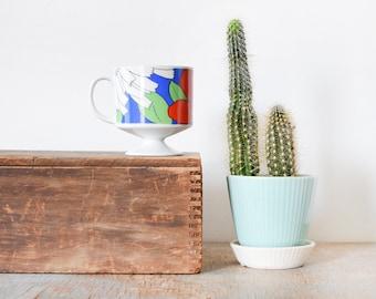 vintage floral mug, 70s coffee mug, retro ceramic pedestal mug, tea cup, 10 oz mug