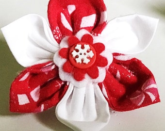 Red Christmas Collar Flower for Dog or Cat with Candy Canes and Snowflakes