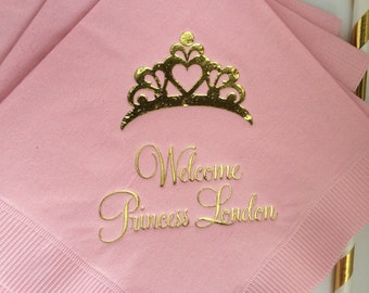 Personalized Princess Napkins Birthday Party LOTS of designs to choose from! Custom Monogram Beverage Luncheon Dinner Guest Towels Available