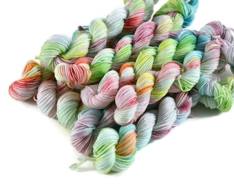 Mini Skeins, Hand Dyed Yarn, Sock Weight, Superwash Merino Wool Yarn, Knitting Yarn, Sock Yarn, Multi-colored, rainbow, speckled - Cloud 9
