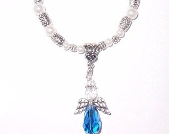 Wedding Bouquet Memorial Photo Oval Metal Charm Something Blue Holy Silver Winged Angel Crystal Gems Pearls Tibetan Beads - FREE SHIPPING