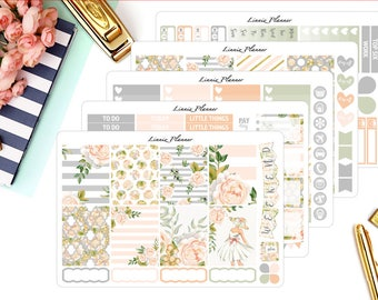 Champagne Bloom Weekly Kit or Al a Carte (matte planner sticker, fits perfect in Erin Condren Life Planner Vertical)