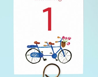 Bicycle Built for Two Table Numbers, Bike Table Numbers, Bike Wedding Table Numbers, Watercolor Tandem Bike Table Numbers, Tandem Bike