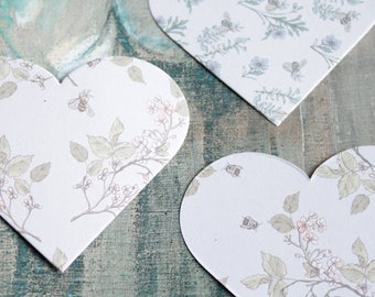 20 big hearts 11 x 13.5 cm for hobby, textile arts, scrapbooking, table decoration, wedding Garland, 1024