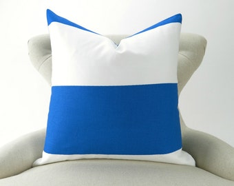 Royal Blue/White Pillow Cover -up to 28x28 inch- Cobalt Blue, Wide Stripe Pillow, Beach Costal Decor,  Euro Sham, Cabana Pemier Prints