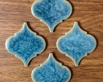 Ogee Shape Magnets   Porcelain Magnets   Luxury Magnets   Strong Magnets   Set of 4   Cute Magnets   Blue Magnets