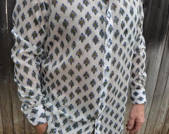 Men's Handmade Block Print Long Sleeve Button Down Indian Cotton Shirt - Royal and Olive Emblem on White - Jannick I940