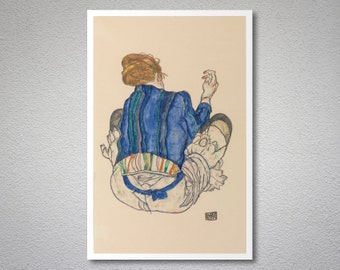 Seated Woman, Back View by Egon Schiele -  Art Print - Poster Paper, Sticker or Canvas Print / Gift Idea