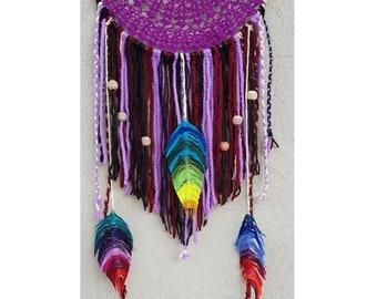 Dream with purple lace weft made by hand//Dreamcatcher violet/Homedecor design/Handmade Dreamcatcher