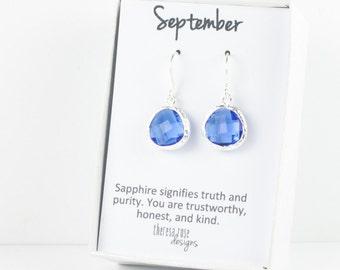 Septembre naissance encadré de saphir en argent pendantes boucles d'oreilles, boucles d'oreilles argent saphir, bleus boucles d'oreilles argentées, boucles d'oreilles mariées, #794